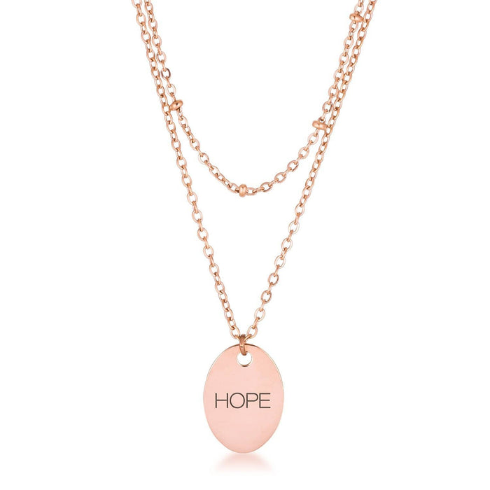 Necklaces Rose Gold Plated Double Chain HOPE Necklace angelucci-jewelry