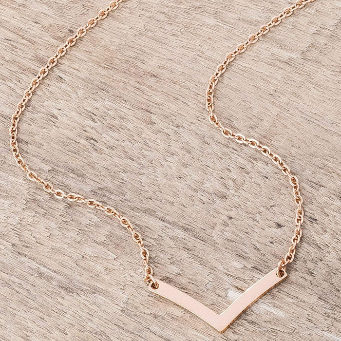 Necklaces Stainless Steel Rose Goldtone Chevron Necklace angelucci-jewelry