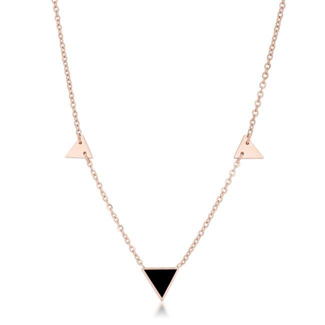 Necklaces Trin Rose Gold Stainless Steel Delicate Stationary Triangle Necklace angelucci-jewelry