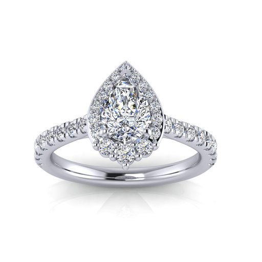 One Carat Pear Shape Halo Diamond Engagement Ring angelucci-jewelry