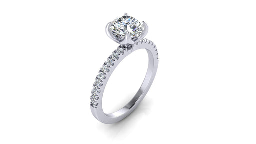 One Carat Round Brilliant Diamond Engagement Ring with Side Diamonds angelucci-jewelry