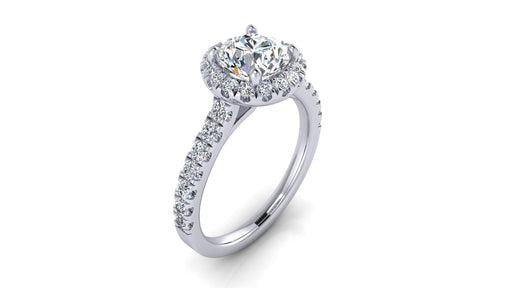 One Carat Round Brilliant Halo Diamond Engagement Ring angelucci-jewelry