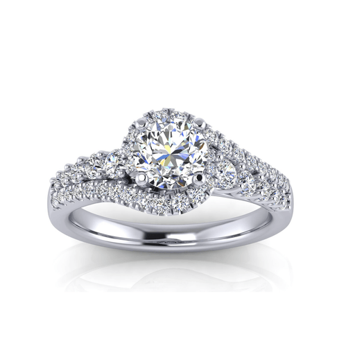 One Carat Round Bypass Diamond Engagement Ring angelucci-jewelry