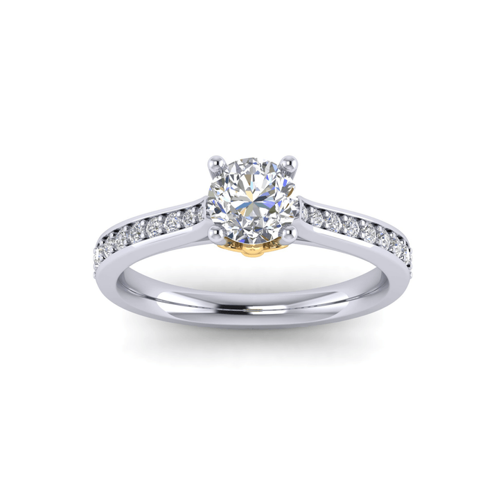 One Carat Round Center Diamond Engagement Ring with Side Diamonds w Fluer-Di-Lis Yellow Accent angelucci-jewelry