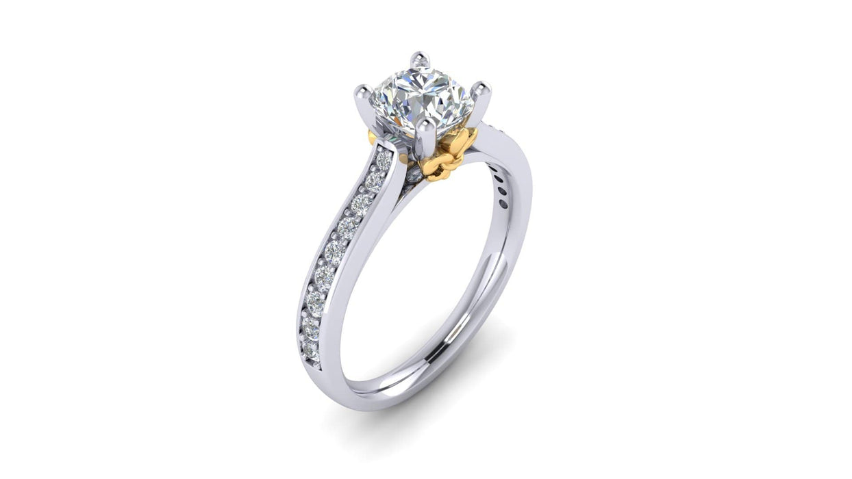 One Carat Round Center Diamond Engagement Ring with Side Diamonds w Fluer-Di-Lis Yellow Gold Accent angelucci-jewelry