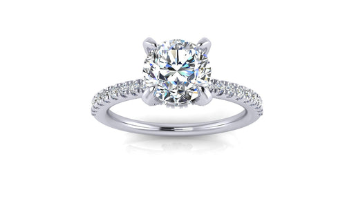 One Carat Round Center Diamond Hidden Halo Engagement Ring with Side Diamonds angelucci-jewelry