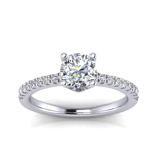 One Carat Round Center Hidden Halo Diamond Engagement Ring with Side Diamonds angelucci-jewelry