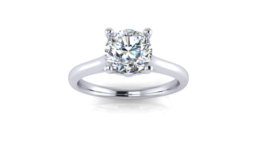 One Carat Round Solitaire Diamond Engagement Ring in 14 Karat Gold-Angelucci-Jewelry
