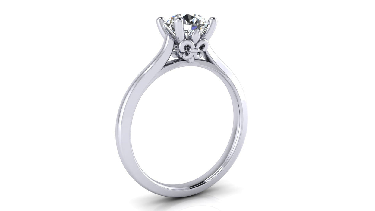One Carat Round Solitaire Diamond Engagement Ring in 14 Karat Gold with Fleur-di-Lis Accent angelucci-jewelry