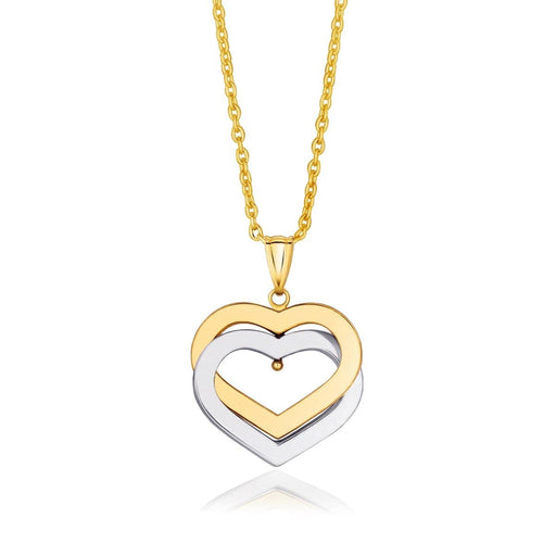 Pendants 18 / White and yellow gold 14k Two-Tone Gold Intertwined Hearts Pendant angelucci-jewelry