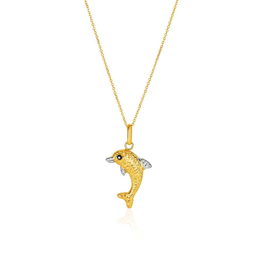 Pendants 18 / White and yellow gold 14k Two-Toned Yellow and White Gold Reversible Dolphin Pendant angelucci-jewelry
