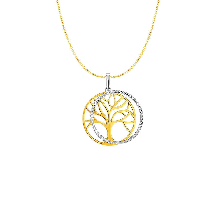 Pendants 18 / White and yellow gold Two Layer Tree Pendant in 14k Two Tone Gold angelucci-jewelry