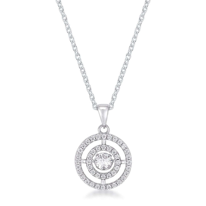Pendants .9Ct Timeless Rhodium Plated Double Pave Circle Dancing CZ Pendant angelucci-jewelry