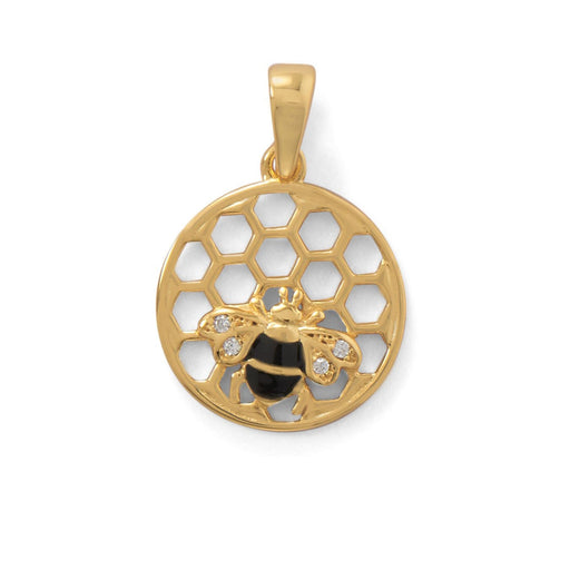 "Pendants ""BEE Mine!"" 14 Karat Gold Plated Honeycomb with Bee Pendant angelucci-jewelry"