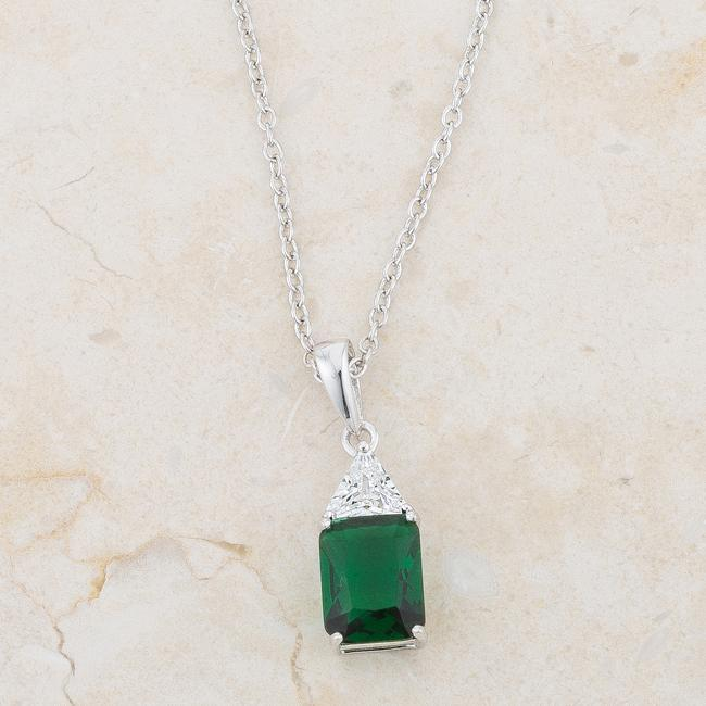 Pendants Classic Emerald Cubic Zirconia Sterling Silver Drop Necklace angelucci-jewelry