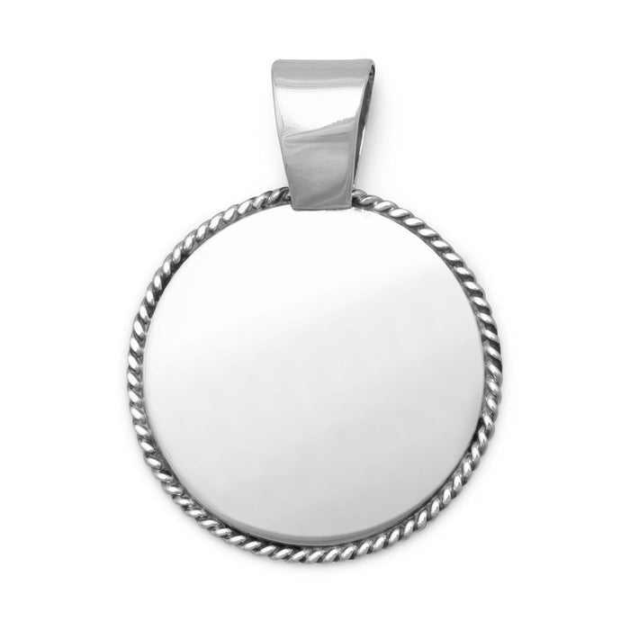Pendants Engravable Pendant with Rope Edge angelucci-jewelry