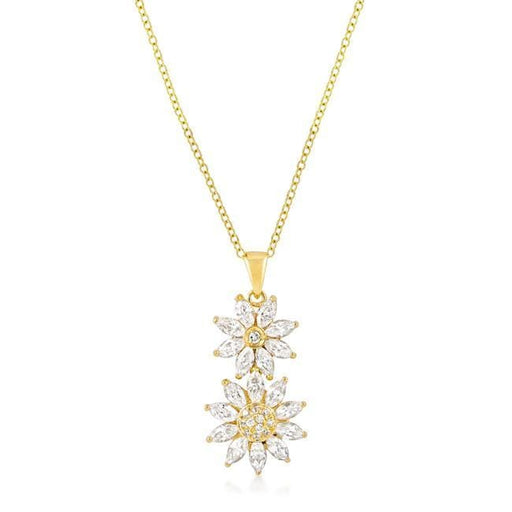 Pendants Goldtone Dual Floral Pendant angelucci-jewelry