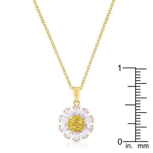 Pendants Goldtone Purple and Yellow Cubic Zirconia Floral Pendant angelucci-jewelry