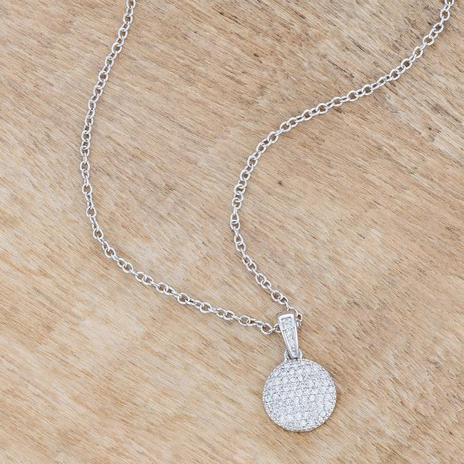 Pendants Lovely Rhodium Necklace with CZ Disk Pendant angelucci-jewelry