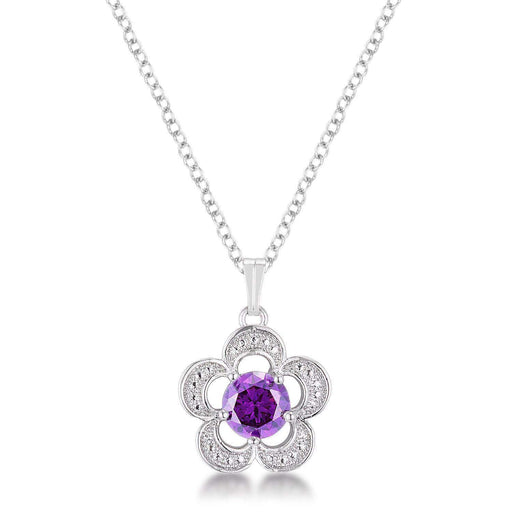 Pendants P11101R-S20 7mm Floral Cubic Zirconia Amethyst Fashion Pendant angelucci-jewelry