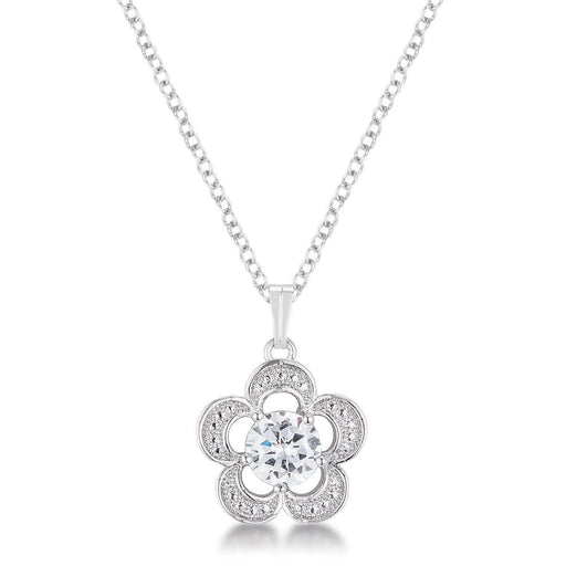 Pendants P11102R-S01 7mm Floral Cubic Zirconia Fashion Pendant angelucci-jewelry