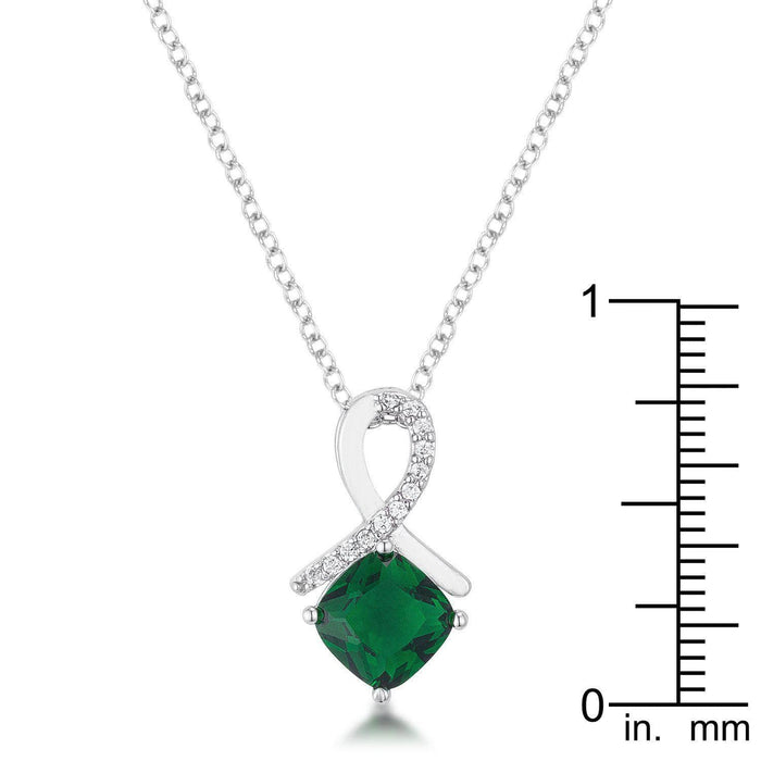 Pendants P11104R-C40 8mm Cushion Cut Cubic Zirconia Emerald Fashion Pendant angelucci-jewelry