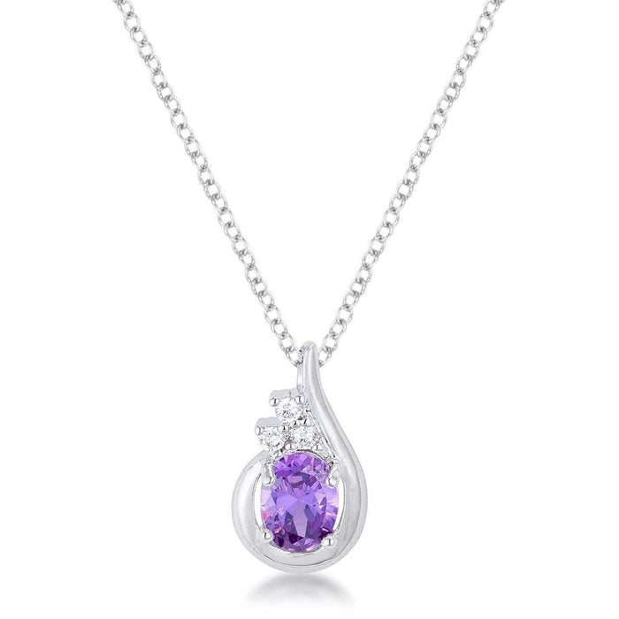 Pendants P11106R-C22 8mm Oval Cut Cubic Zirconia Lavender Fashion Pendant angelucci-jewelry