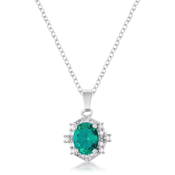 Pendants P11112R-S40 10mm Oval Cut Emerald CZ Fashion Pendant angelucci-jewelry