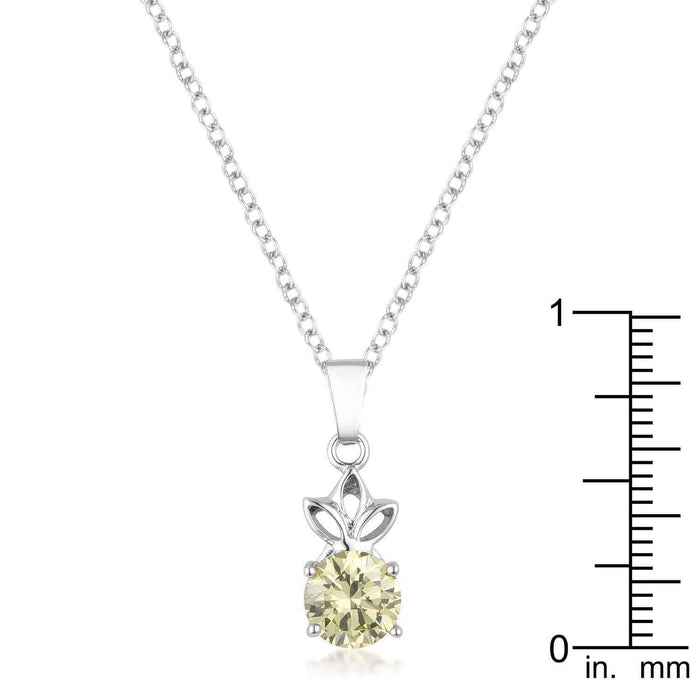 Pendants P11118R-S60 8mm Round Cut Jonquil Cubic Zirconia Fashion Pendant angelucci-jewelry
