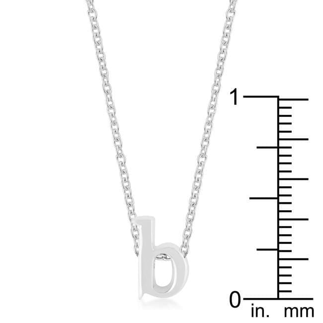 Pendants Rhodium Plated Finish Initial B Pendant angelucci-jewelry