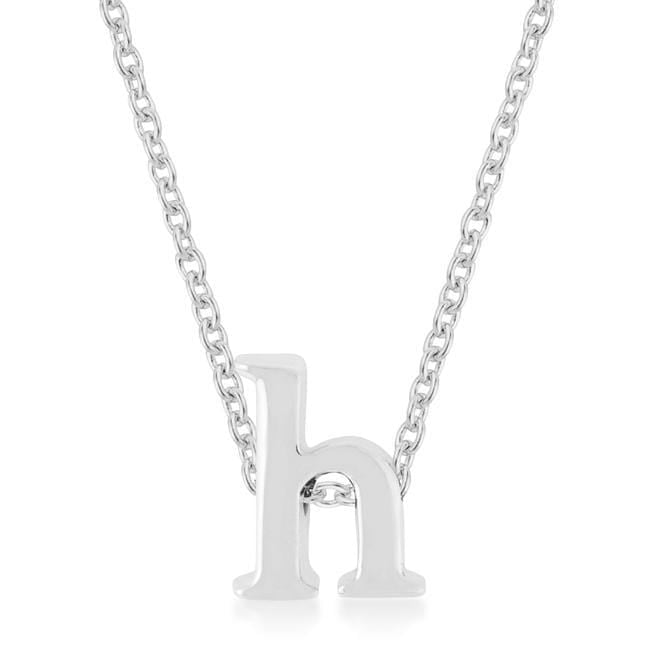 Pendants Rhodium Plated Finish Initial H Pendant angelucci-jewelry