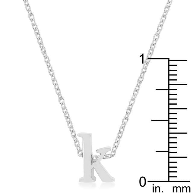 Pendants Rhodium Plated Finish Initial K Pendant angelucci-jewelry