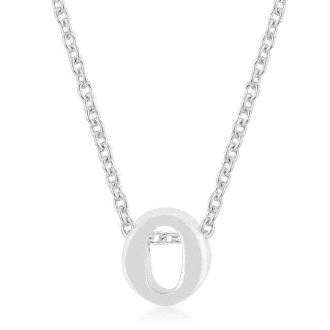Pendants Rhodium Plated Finish Initial O Pendant angelucci-jewelry
