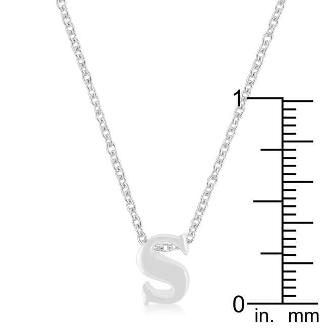 Pendants Rhodium Plated Finish Initial S Pendant angelucci-jewelry