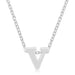 Pendants Rhodium Plated Finish Initial V Pendant angelucci-jewelry