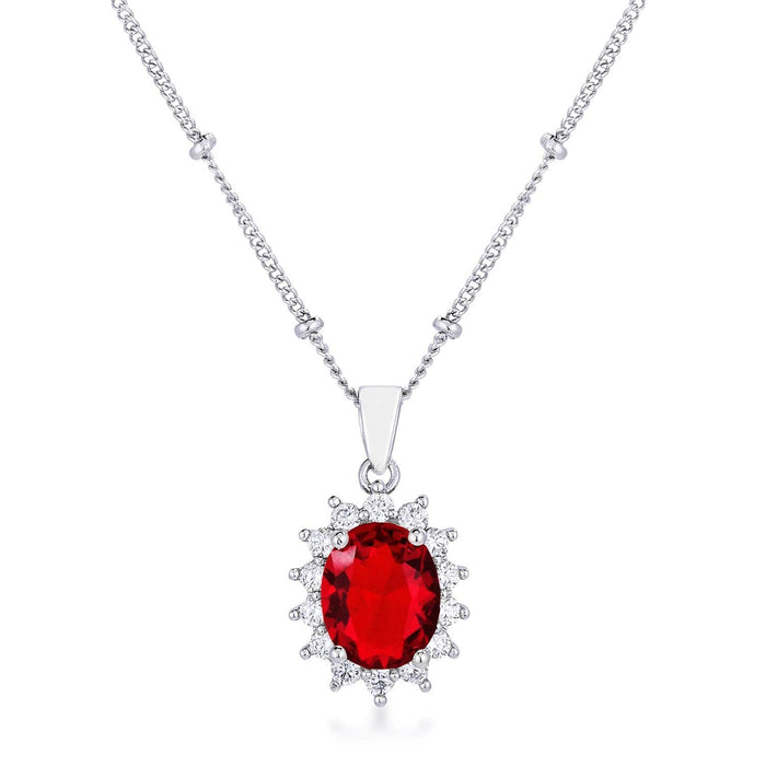 Pendants Rhodium Plated Ruby Red Petite Royal Oval Pendant angelucci-jewelry