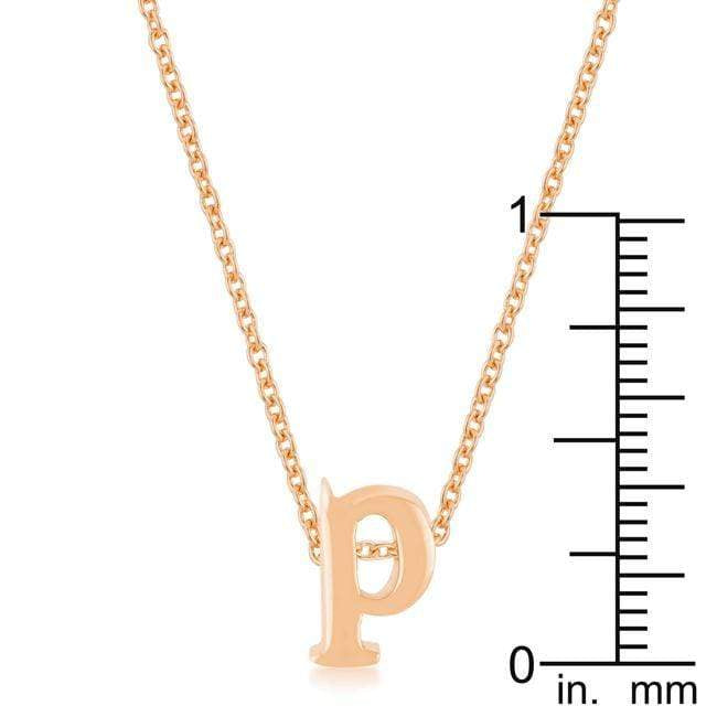 Pendants Rose Gold Finish Initial P Pendant angelucci-jewelry