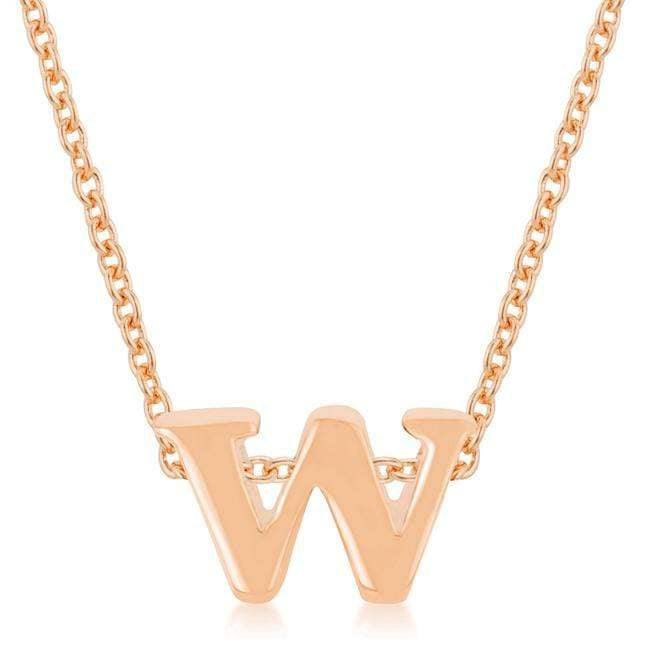 Pendants Rose Gold Finish Initial W Pendant angelucci-jewelry