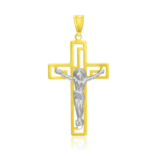 Pendants White and yellow gold 14k Two-Tone Gold Cross with Figure Pendant angelucci-jewelry