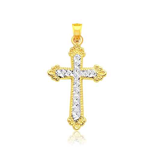 Pendants White and yellow gold 14k Two Tone Gold Diamond Cut Cross Pendant angelucci-jewelry