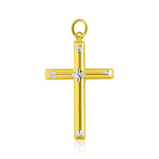 Pendants White and yellow gold 14k Two-Tone Gold Diamond Cut Fancy Cross Pendant angelucci-jewelry