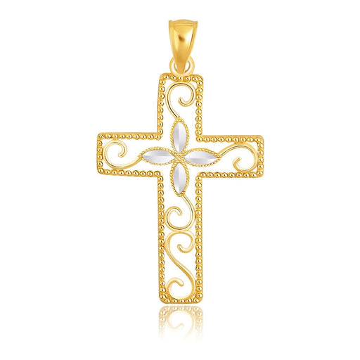 Pendants White and yellow gold 14k Two-Tone Gold Filigree Flower Motif Cross Pendant angelucci-jewelry