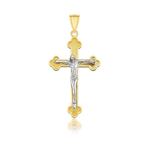 Pendants White and yellow gold 14k Two-Tone Gold Small Budded Style Cross with Figure Pendant angelucci-jewelry