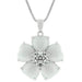 Pendants White Cats Eye Cubic Zirconia Flower Pendant angelucci-jewelry