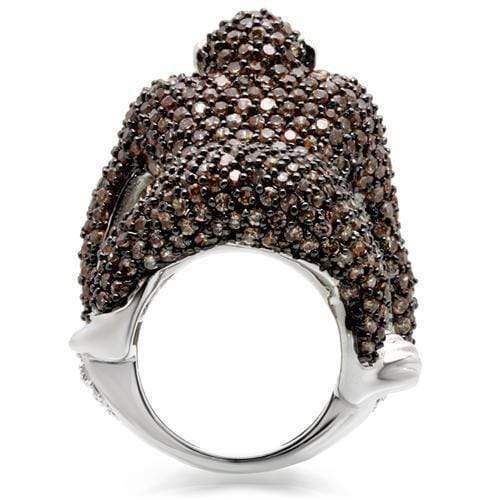 Ring 0W001 Rhodium + Ruthenium Brass Ring with AAA Grade CZ in Champagne angelucci-jewelry