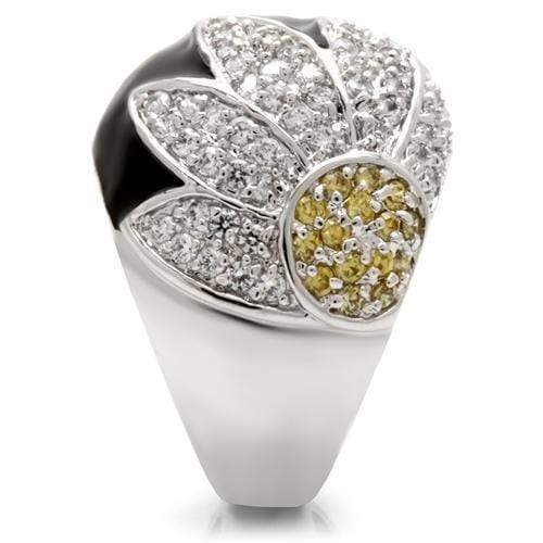 Ring 0W056 Rhodium Brass Ring with AAA Grade CZ in Topaz angelucci-jewelry