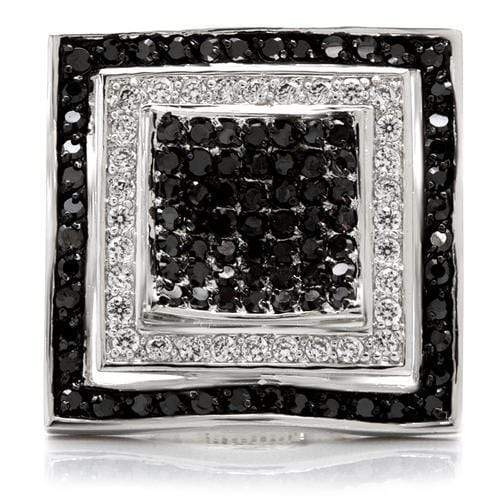 Ring 0W058 Rhodium + Ruthenium Brass Ring with AAA Grade CZ in Jet angelucci-jewelry