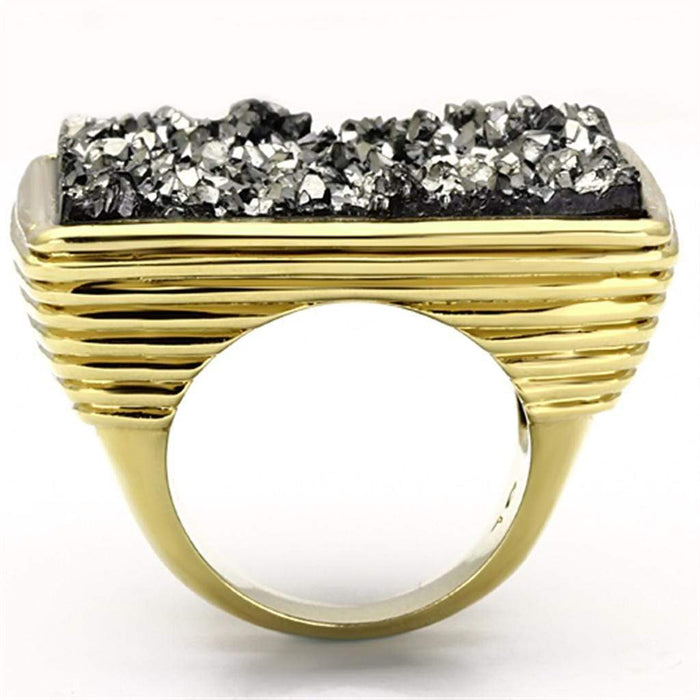 Ring 10 VL088 IP Gold(Ion Plating) Brass Ring with Synthetic in Jet angelucci-jewelry