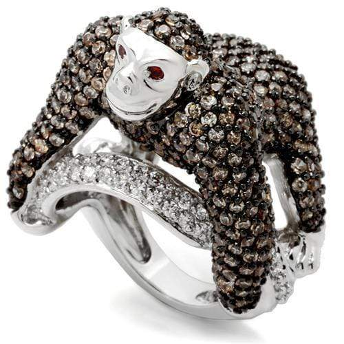 Ring 5 0W001 Rhodium + Ruthenium Brass Ring with AAA Grade CZ in Champagne angelucci-jewelry