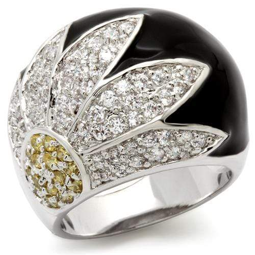 Ring 5 0W056 Rhodium Brass Ring with AAA Grade CZ in Topaz angelucci-jewelry